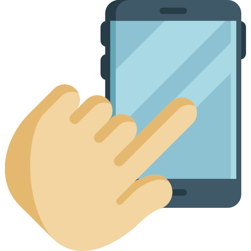 A hand with the pointer finger extended to touch the screen of a phone.