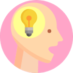 Image of person with a lightbulb in their head - a bright idea!