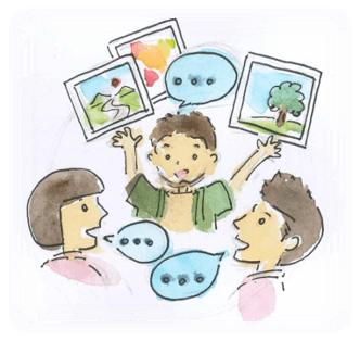 Image of three people happily talking.