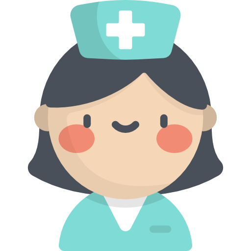 A healthcare provider, a woman with dark hair and a nurse's uniforms. Icons made by Freepik from www.flaticon.com.